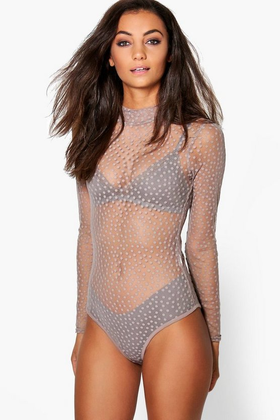 Tall Mala Mesh Spot High Neck Bodysuit