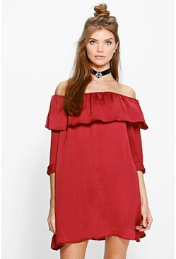 Tall Melosa Silky Off The Shoulder Dress