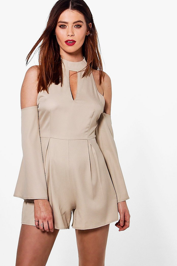 Tall Marris High Neck Cold Shoulder Playsuit