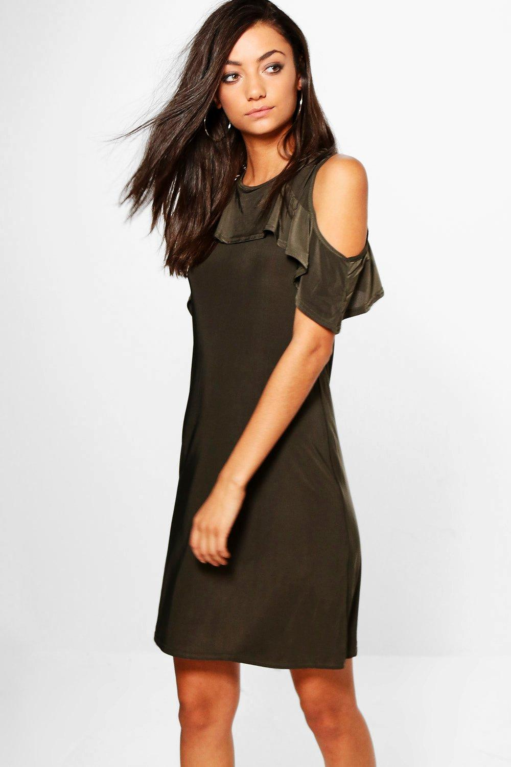 Tall Maisa Ruffle Cold Shoulder Dress