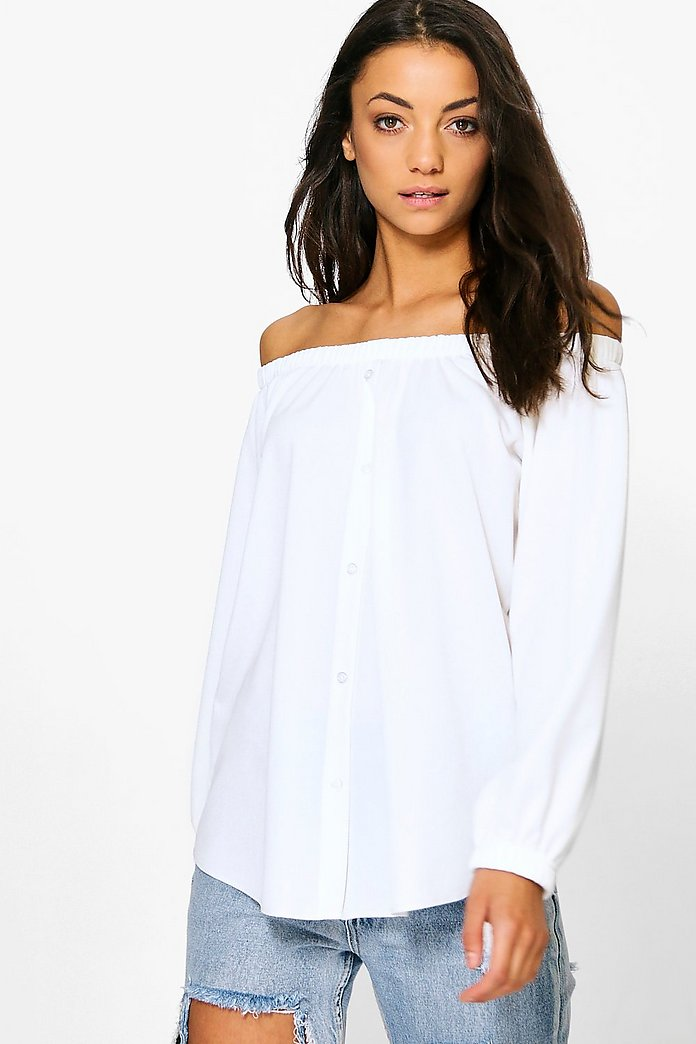 Tall Romia Button Through Off The Shoulder Top