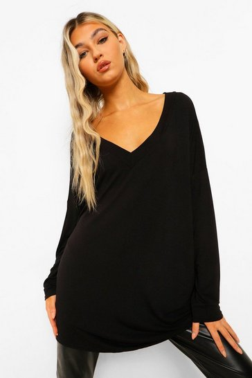 Black Tall Oversized Long Sleeve Top