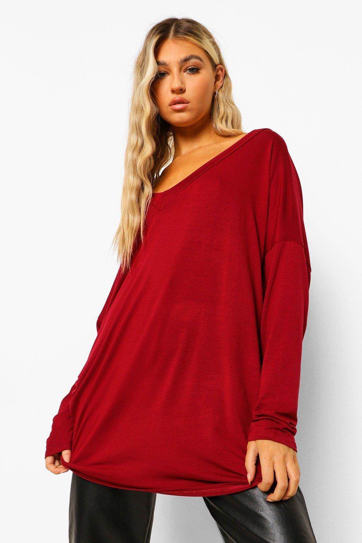 Womens Tall Oversized Long Sleeve Top - wine - 34, Wine - Boohoo.com