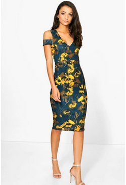 Tall Sasa Printed Cut Out Shoulder Midi Dress