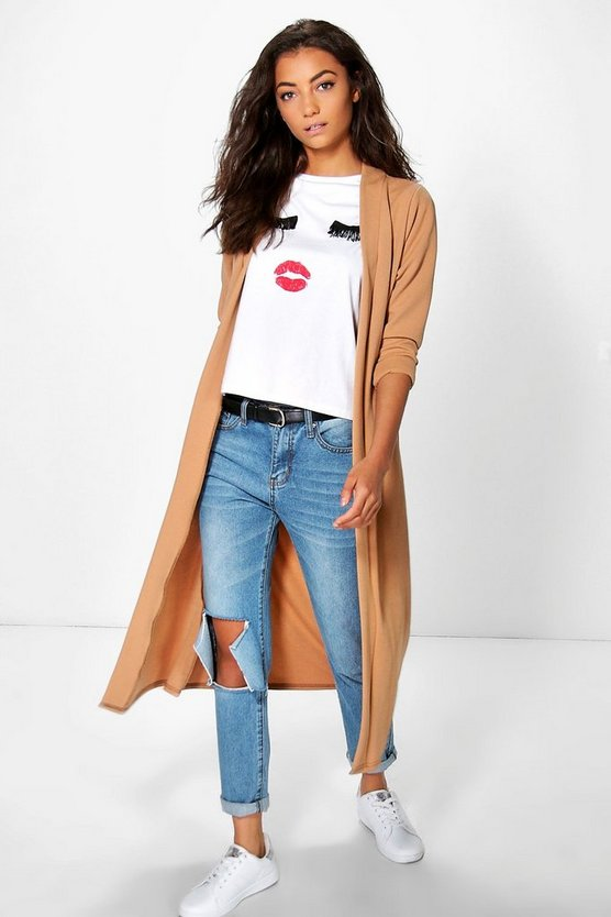 Tall Collarless Duster Jacket
