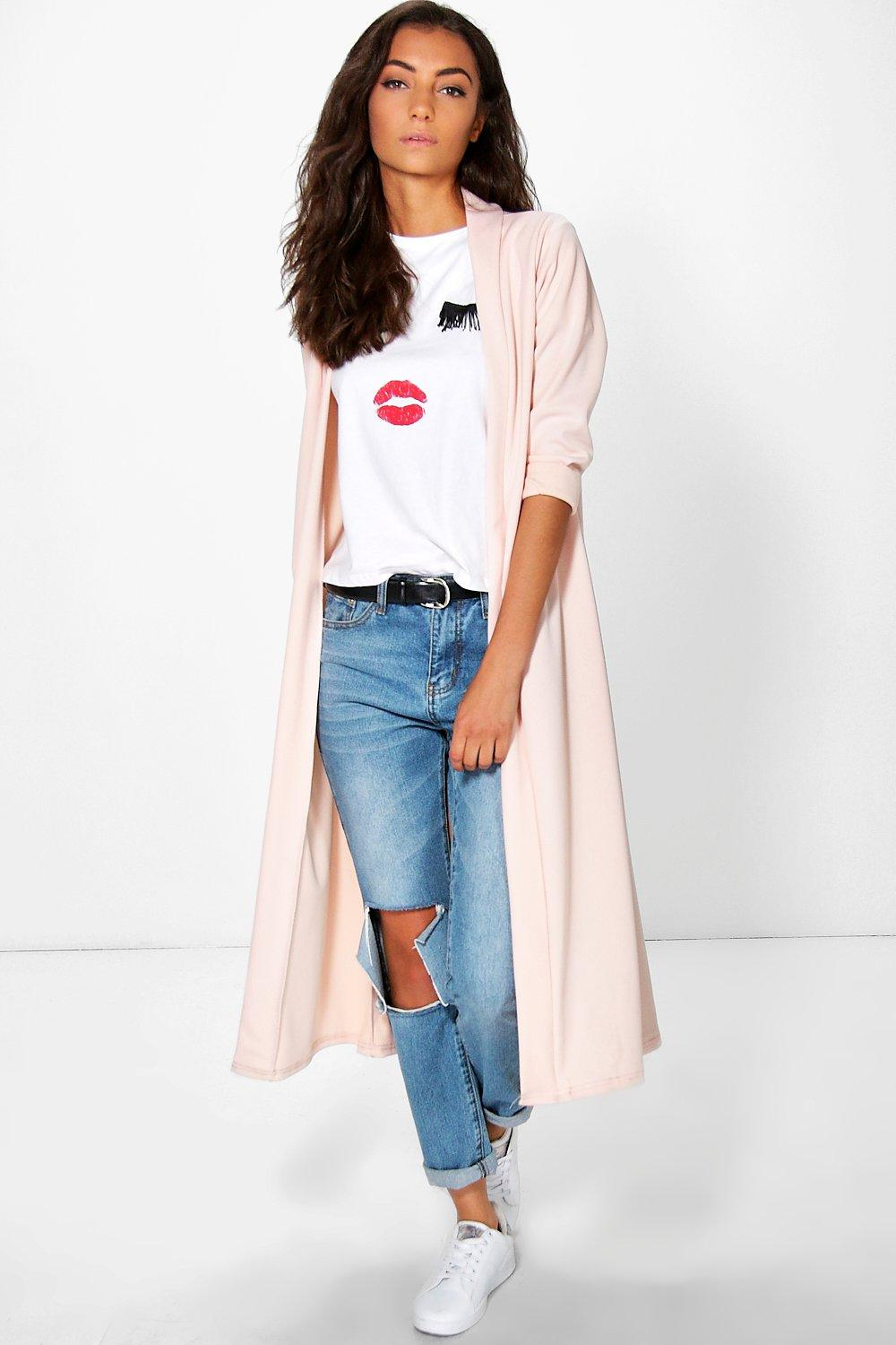 Saidi Collarless Duster Jacket nude