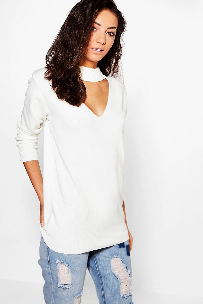 Tall Saskia Choker Neck Knitted Jumper