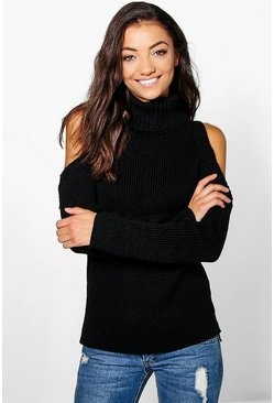 Tall Shay High Neck Cold Shoulder Jumper