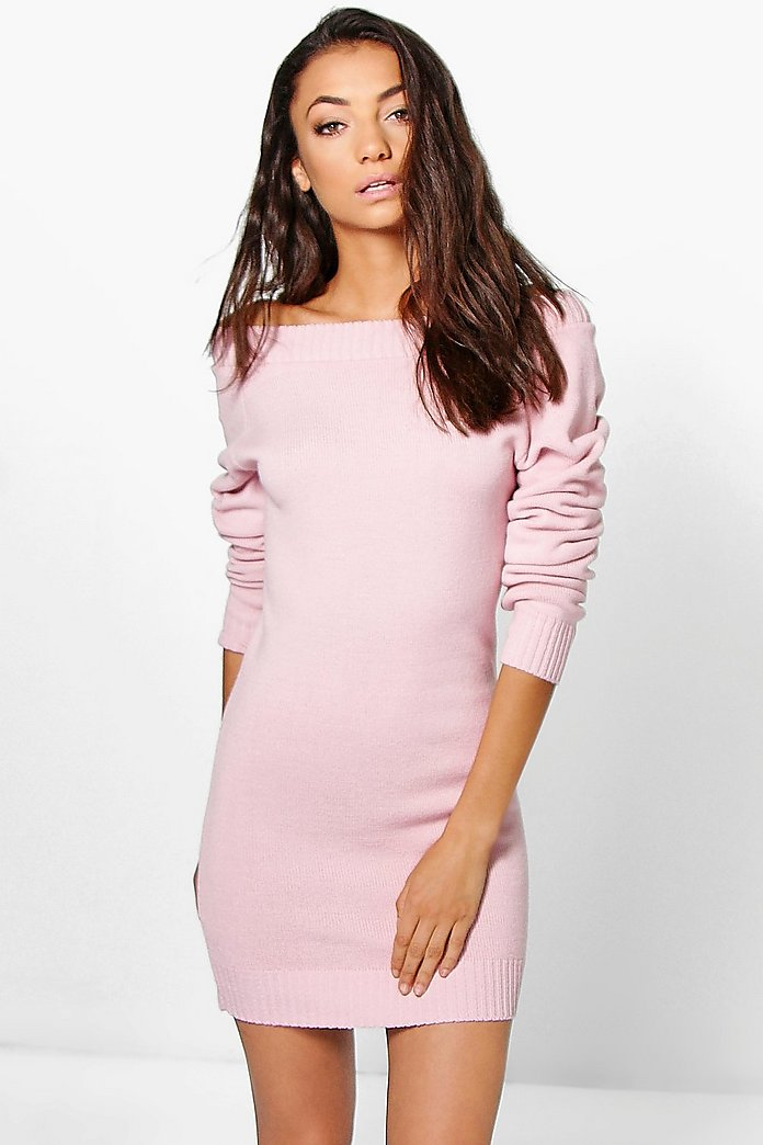 Tall Sady Knitted Off The Shoulder Dress
