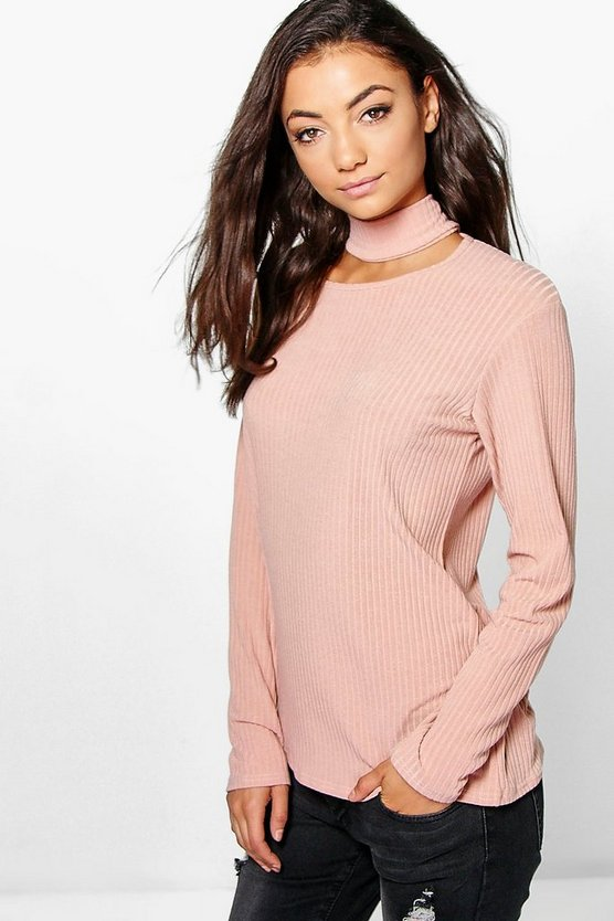 Tall Sash Soft Rib Choker Long Sleeve Top