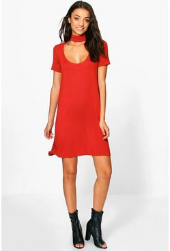 Tall Sinead Low Scoop Neck Choker T-Shirt Dress