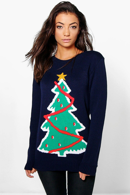 Saige Christmas Tree Jumper  navy