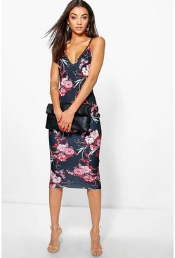Tall Sacha Textured Dark Floral Print Midi Dress