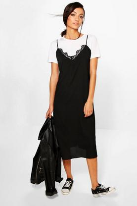 Tall Saddie Tee And Woven Slip Dress