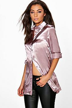 Tall Eady Satin Oversized Button Shirt