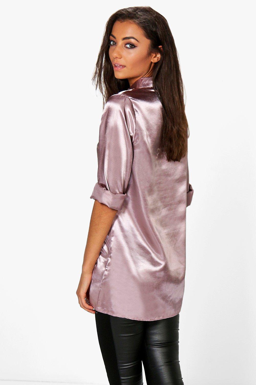 boohoo womens tall eady satin oversized button shirt ebay
