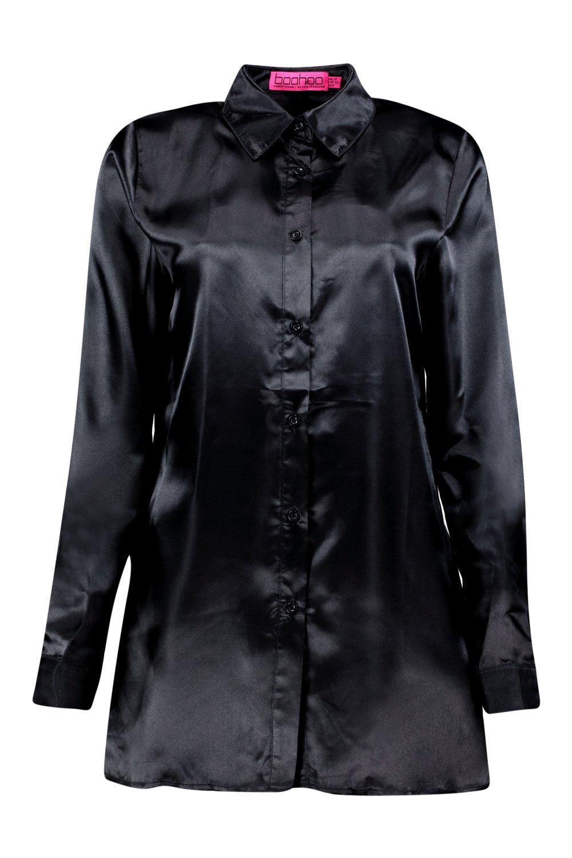 Boohoo womens tall eady satin oversized button shirt for Womens tall button down shirts