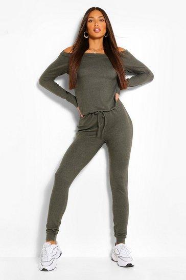 Khaki Tall  Slash Neck Lounge Jumpsuit