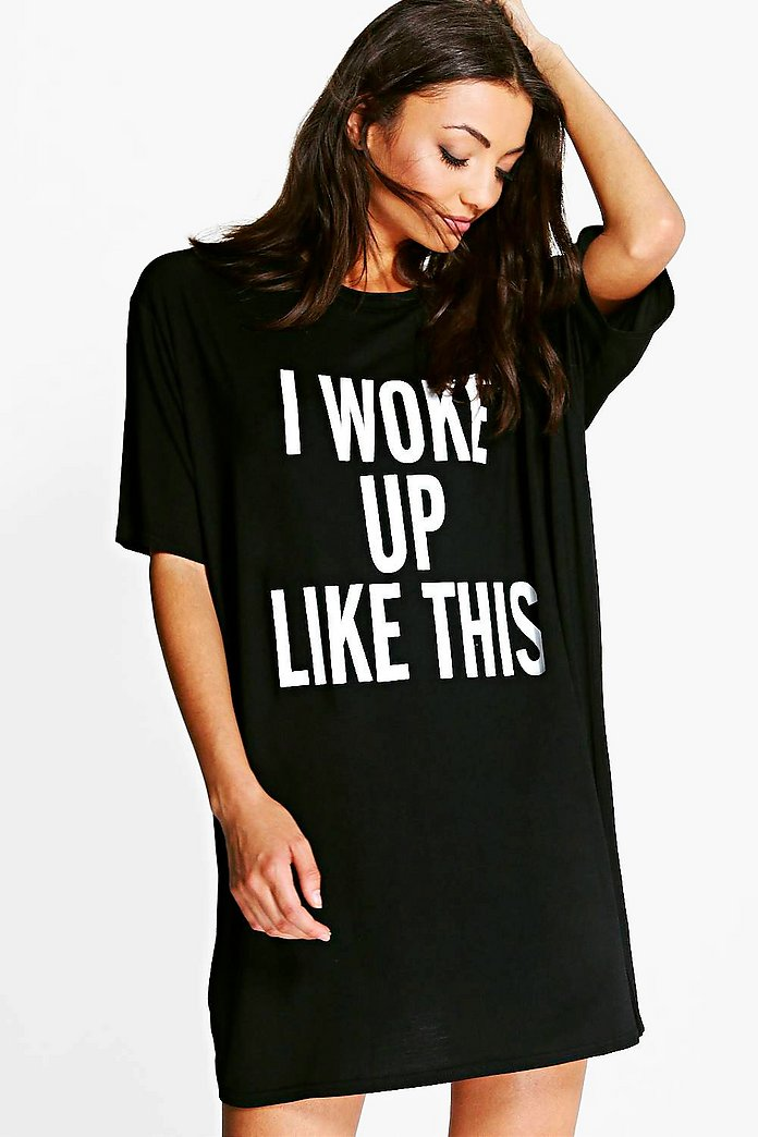Tall Vela Slogan Oversized Night T-Shirt