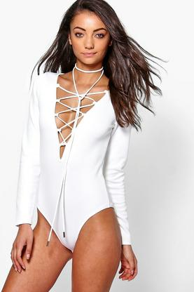 Tall Talie Scuba Lace Up Plunge Body With Choker