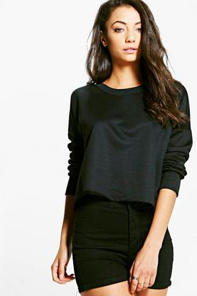 Tall Macia Raw Hem Oversized Boxy Crop Sweat