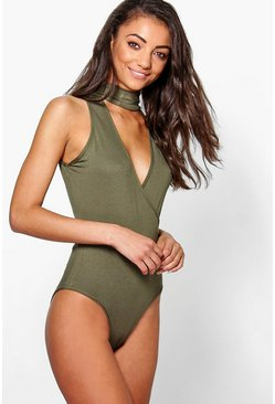 Tall Melyne Wrap Cut Out Neck Bodysuit