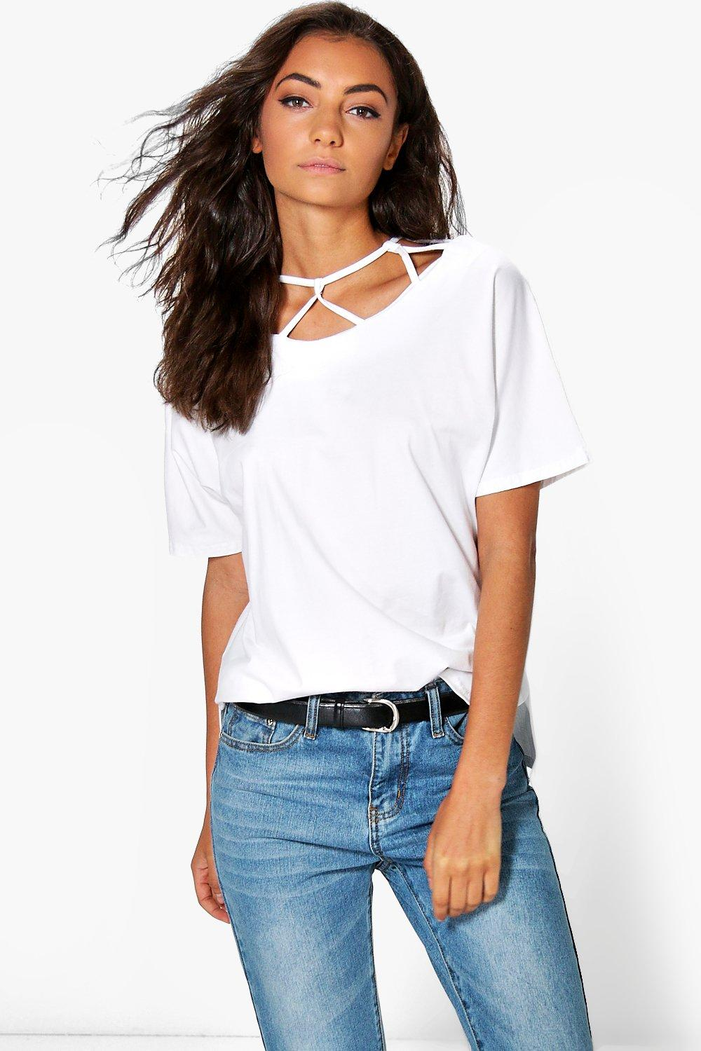 Tall Mendi Caged Loop Detail Neck T-Shirt