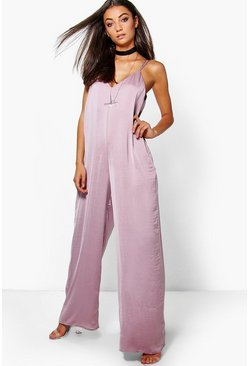 Tall Maita Caged Strap Satin Jumpsuit