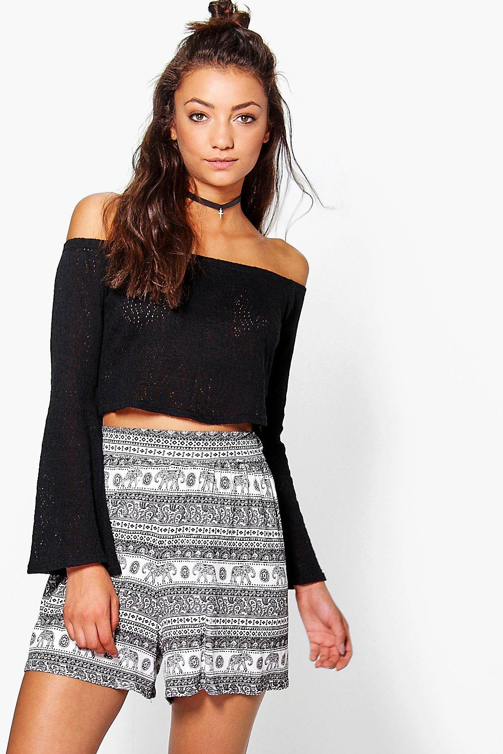 Tall Gaila Ethnic Print Oversized Flippy Shorts