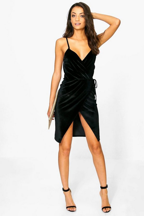 Tall Riona Velvet Wrap Front Strappy Mini Dress