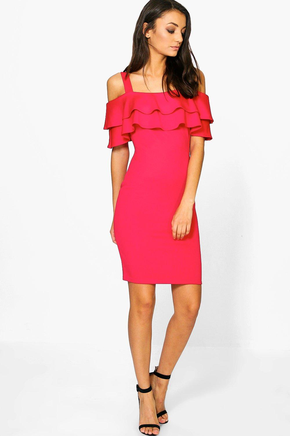 Tall Rheya Frill Off The Shoulder Scuba Mini Dress