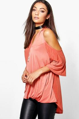 Tall Ravena Drape Slinky Wrap Cold Shoulder Top