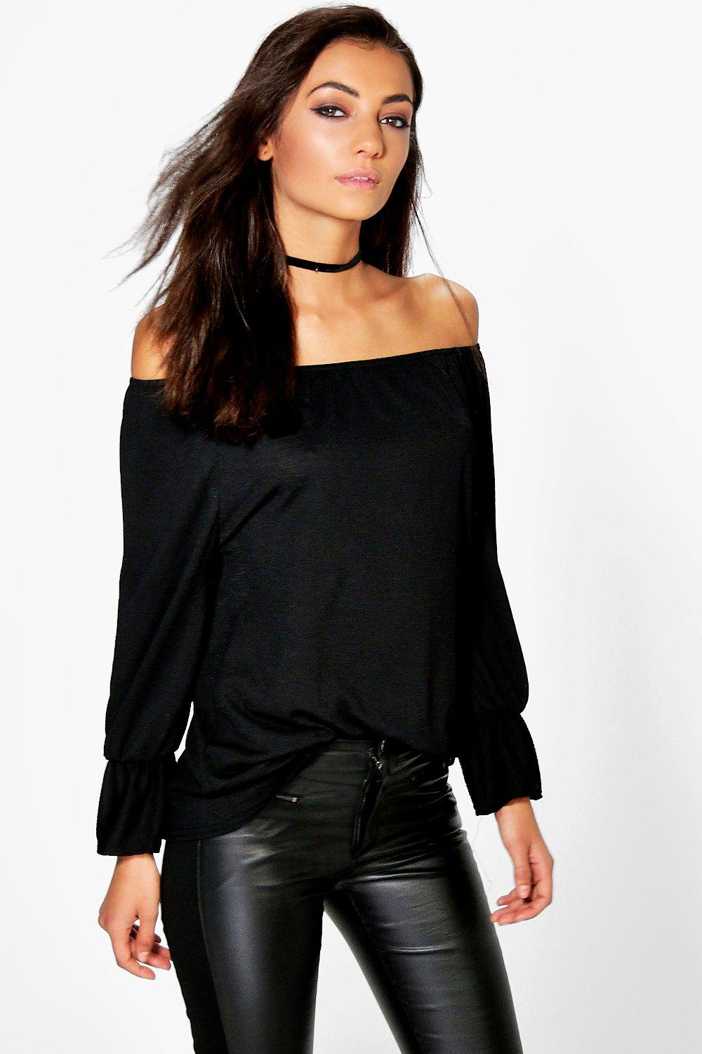 Tall Remi Textured Off The Shoulder Flute Top
