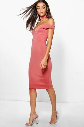 Tall Raya Sweetheart Off The Shoulder Choker Midi Dress
