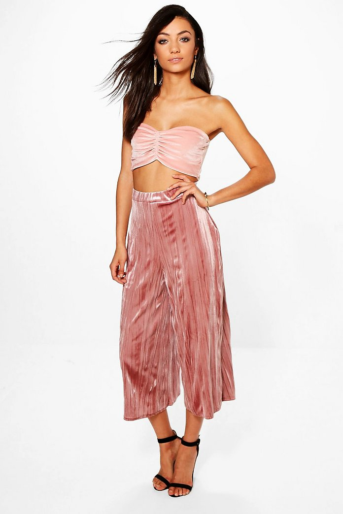 Tall Ramina Pleated Velvet Premium Culottes