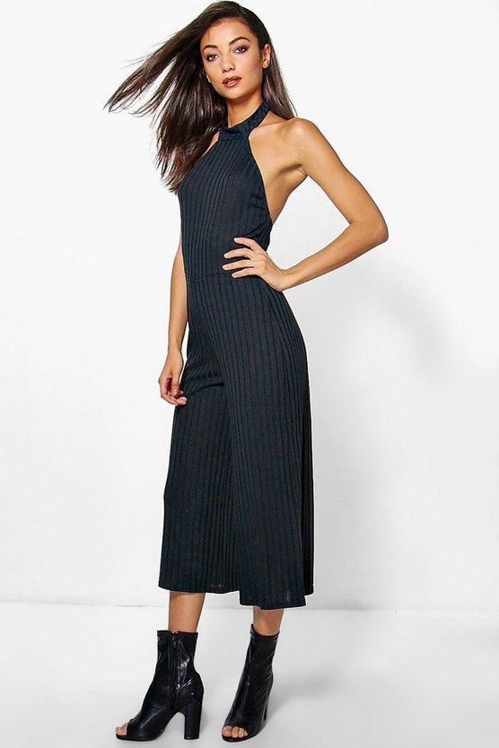 Tall Rainee Knit Rib Culotte High Neck Jumpsuit