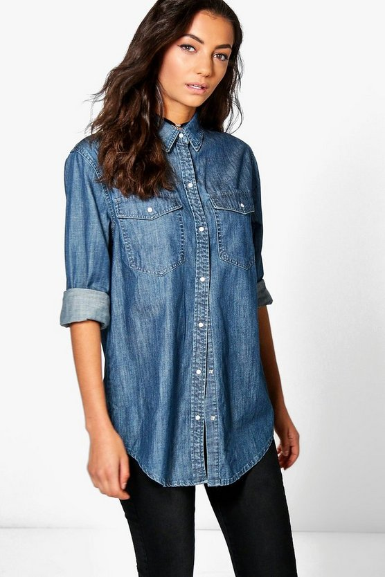 Tall Solenne Oversized Denim Button Shirt