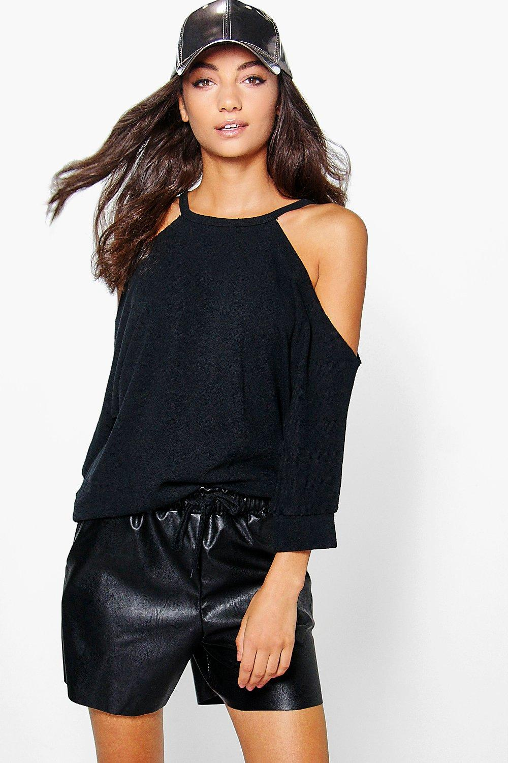 Tall Skyelar Raw Edge Textured Cold Shoulder Sweat