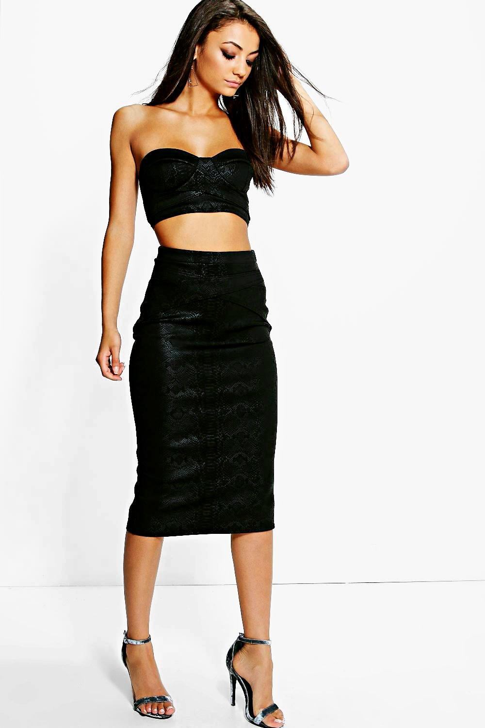 Tall Boutique Snake Print Tonal Wrap Detail Midi Skirt