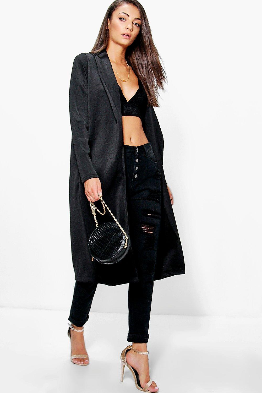 Selmah Scuba Longline Duster Coat black