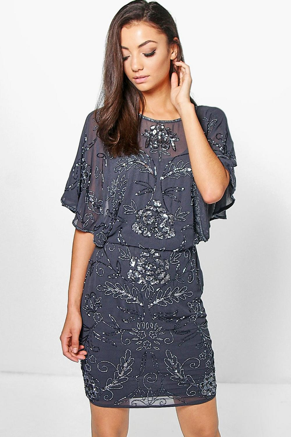 Tall Sanneen All Over Beaded Batwing Dress