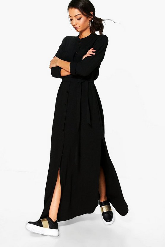 Tall Woven Split Side Maxi Shirt Dress