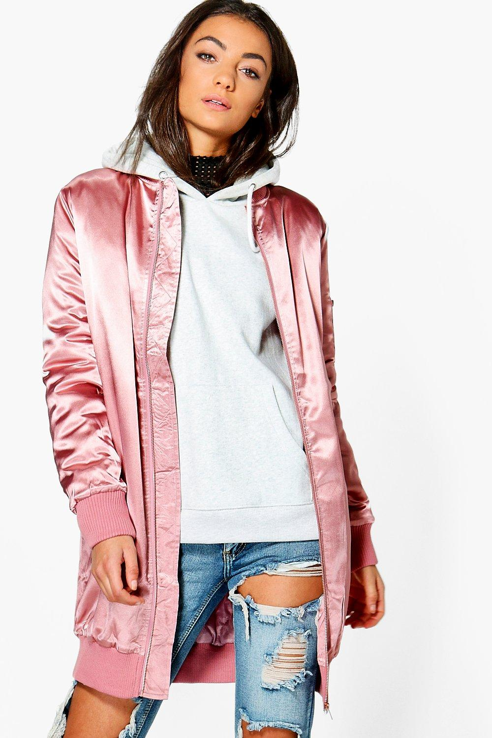 Tall Savina Premium Satin Long Line Zip Bomber