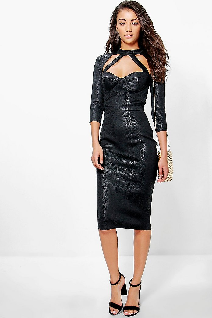 Tall Sera Caged Cut Out Neck Cupped Midi Dress
