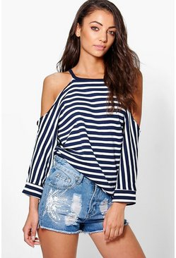 Tall Maeve Raw Edge Stripe Cold Shoulder Sweat