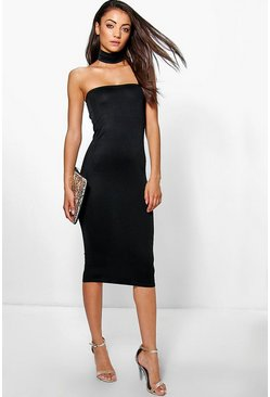 Tall Celise Detachable Choker Bandeau Midi Dress