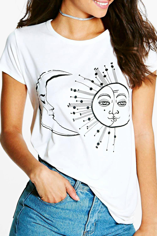 Boohoo-Tall-Clara-Sun-And-Moon-Print-Oversized-Tee-para-Mujer