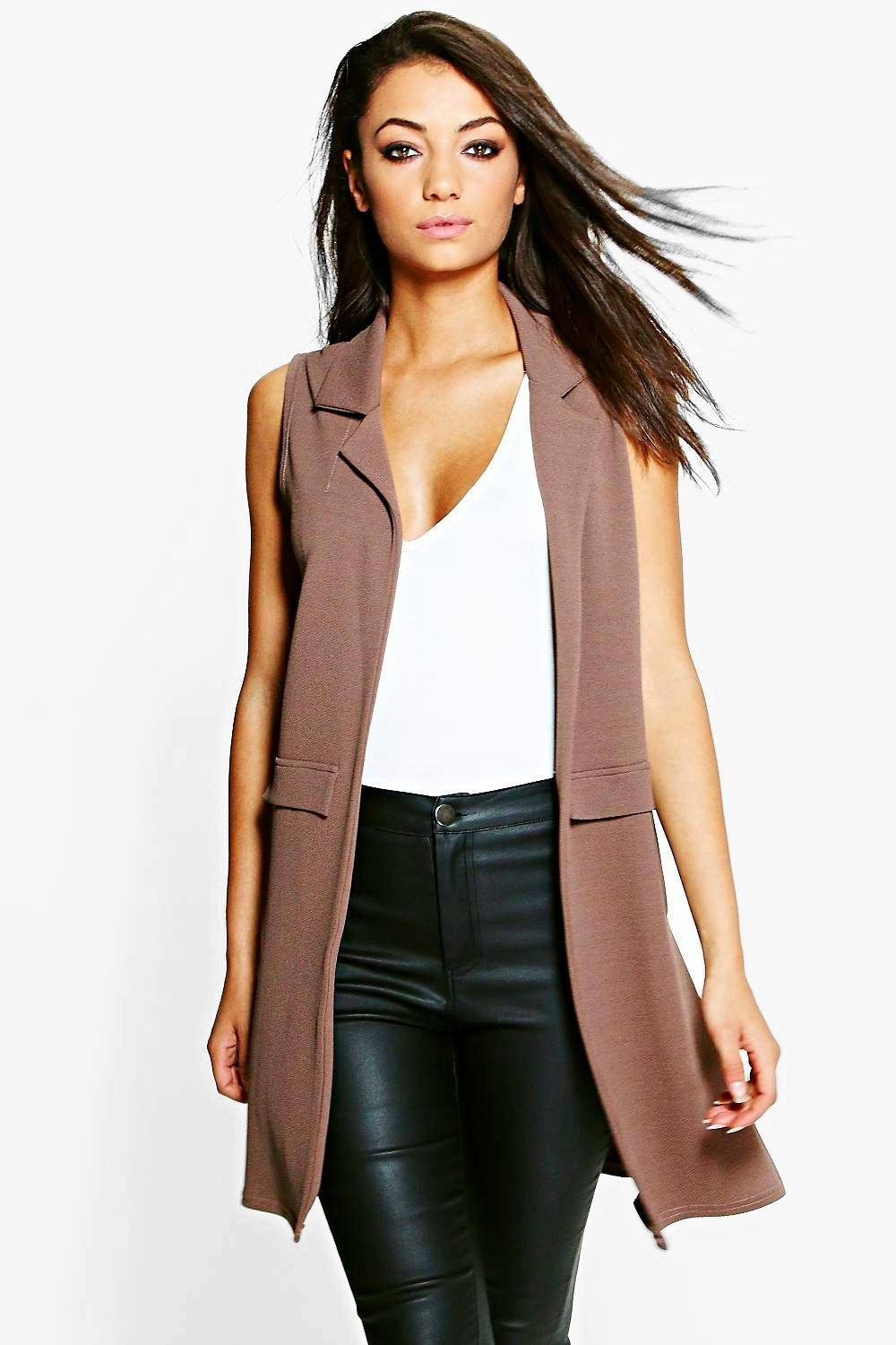 Clarise Textured Sleeveless Duster Coat mocha