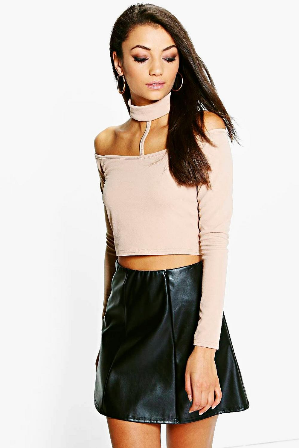 Tall Maddie Textured Off The Shoulder Neck Strap Crop