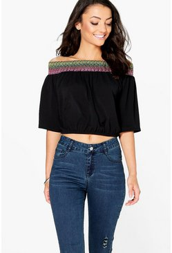 Tall Mabelle Off The Shoulder Woven Trim Top